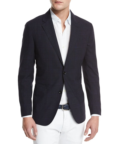 Ermenegildo Zegna Soft Check Two-Button Sport Coat, Navy