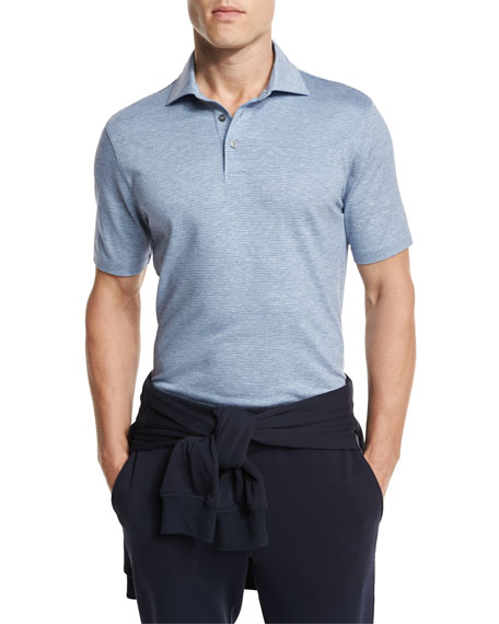 Striped Jacquard Polo Shirt, Dark Blue