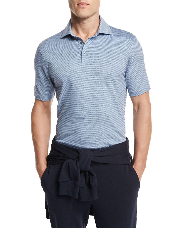 639d7cc52a96 Ermenegildo Zegna Striped Jacquard Polo Shirt, Dark Blue   Neiman Marcus