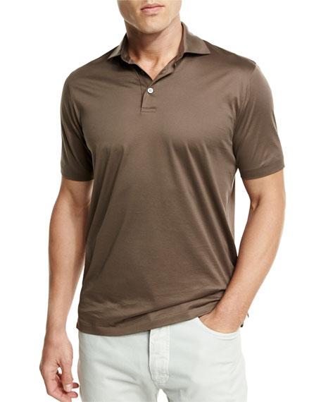 Ermenegildo zegna mercerized cotton polo shirt light for Light brown polo shirt