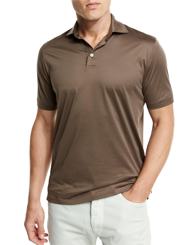 02da7027 Ermenegildo Zegna Mercerized Cotton Polo Shirt, Light Brown   Neiman ...