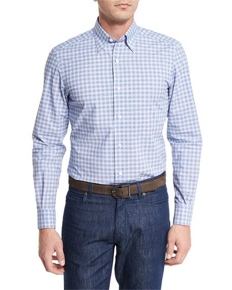 Ermenegildo Zegna Concordia Plaid Jacquard Sport Shirt