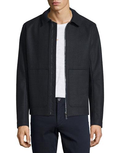 Raw-Edge Zip-Up Utility Jacket