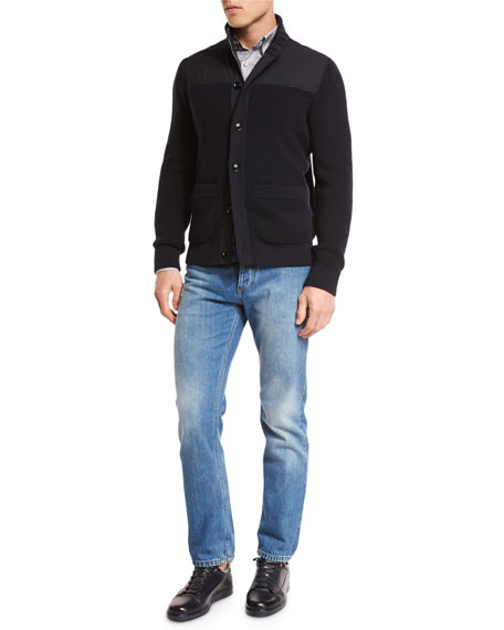 Light Wash Luxe Denim Jeans, Blue