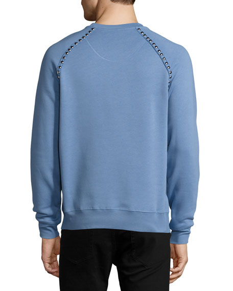 Stud Detail Cotton-Blend Sweatshirt, Light Blue