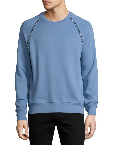 Stud Detail Cotton-Blend Sweatshirt, Light Blue