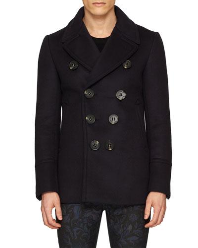 Neoprene Bonded Wool-Cashmere Pea Coat, Navy
