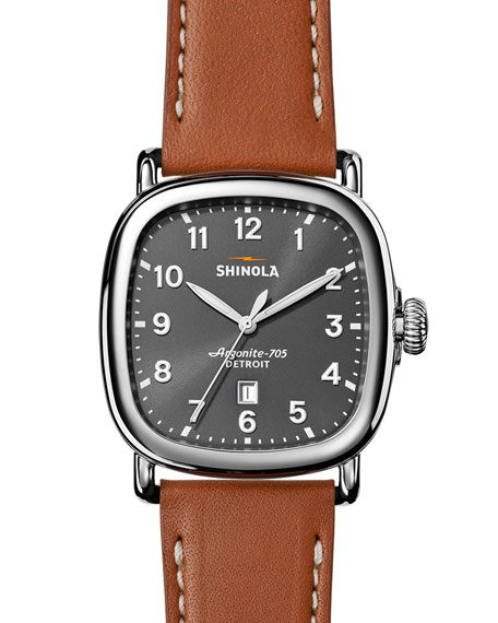 Shinola 41mm Guardian Men's Watch, Tan Beaumont/Gray