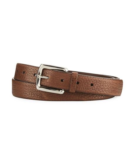 Brunello Cucinelli Aged Grain Calf Leather Belt