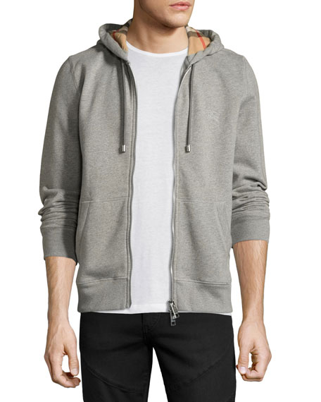 Burberry Claredon Jersey Hoodie w/Check Lining, Pale Gray