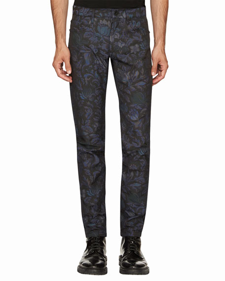 Burberry Floral-Jacquard Skinny Jeans, Navy