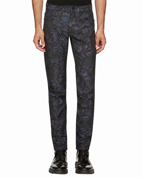 Burberry Floral-Jacquard Skinny Jeans, Navy