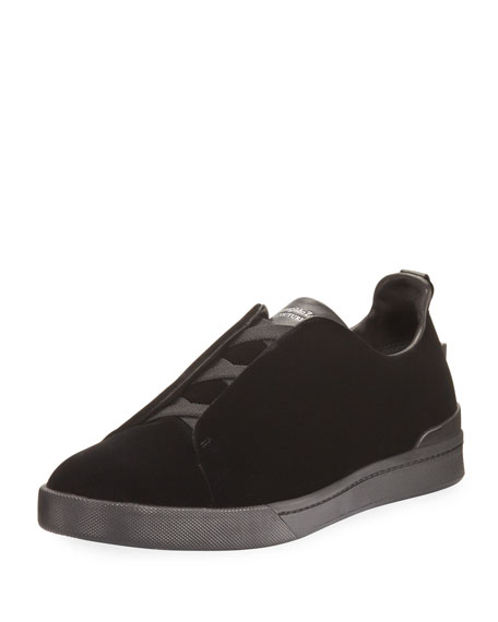 Ermenegildo Zegna Couture Triple-Strap Velvet Low-Top Sneaker,