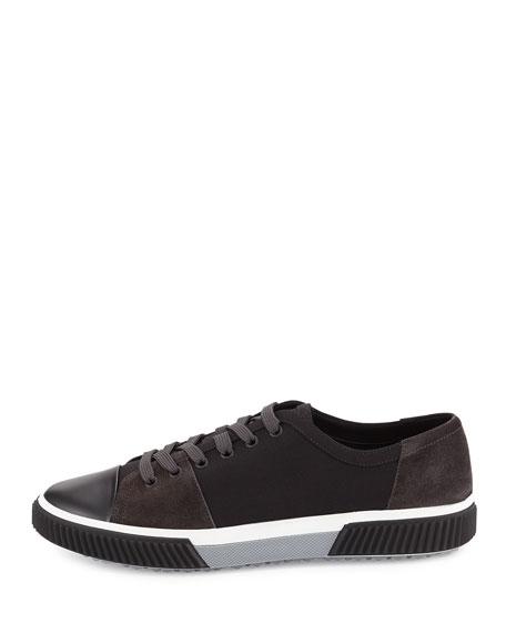 Canvas & Suede Low-Top Sneaker, Black