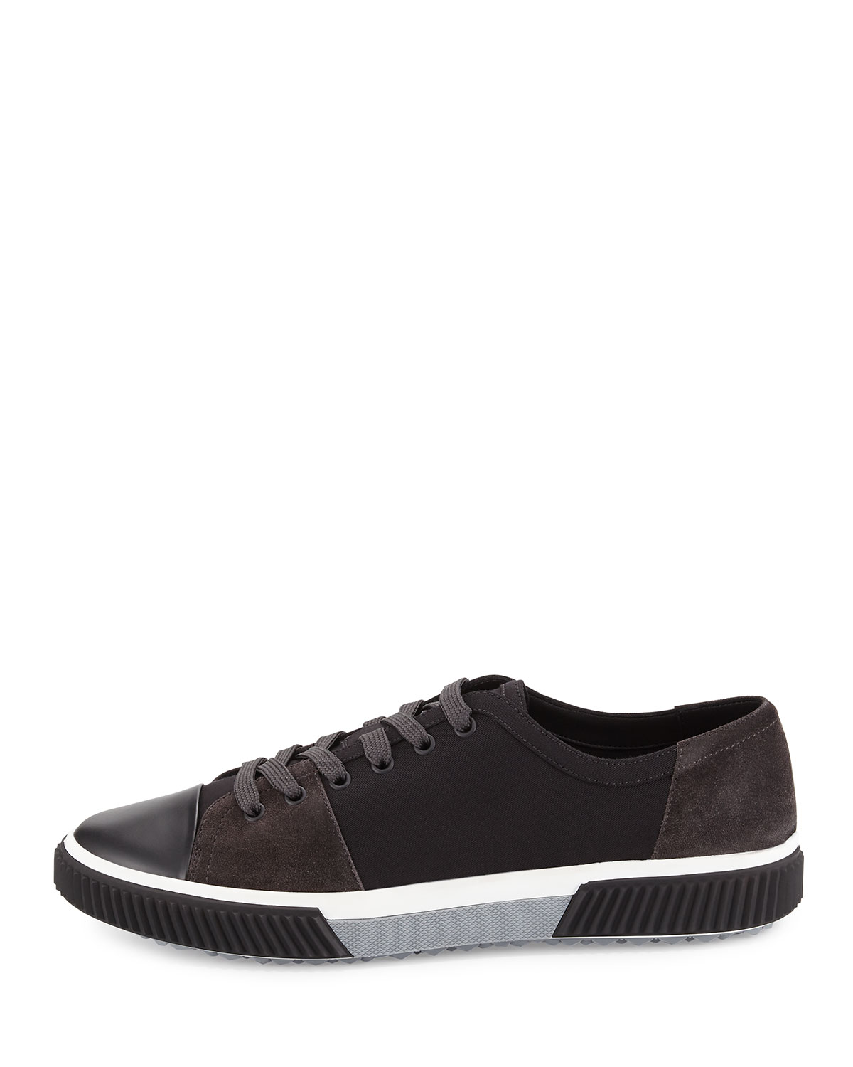 Prada Black Suede & Canvas Sneakers 0GEZ4QQx