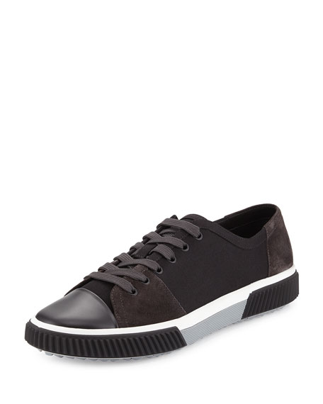 Prada Canvas & Suede Low-Top Sneaker, Black
