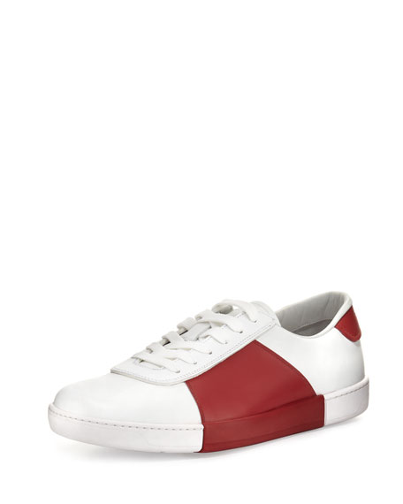 Prada Colorblock Vitello Low-Top Sneaker, White/Red