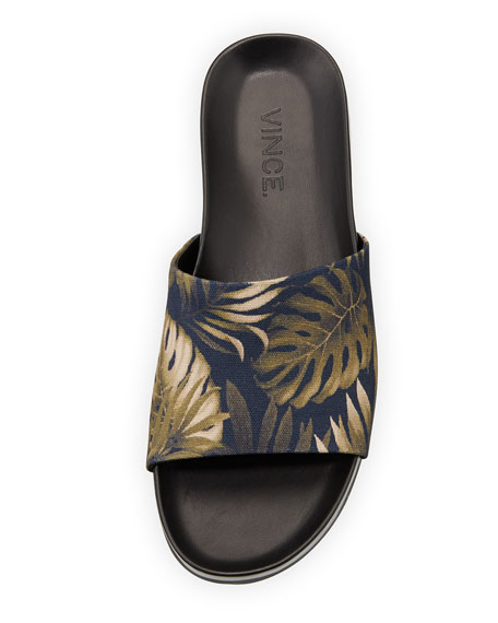 Wasco Men's Palm-Print Canvas Slide Sandal, Blue/Green