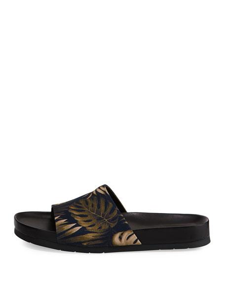 Wasco Men's Palm-Print Canvas Slide Sandal, Blue/Green