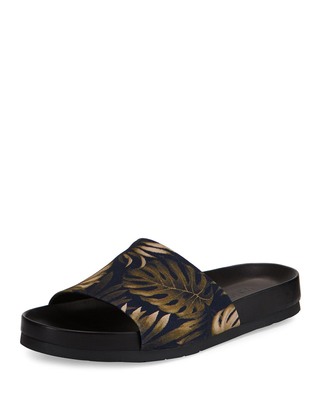 38442e7f098e Vince Wasco Men s Palm-Print Canvas Slide Sandal