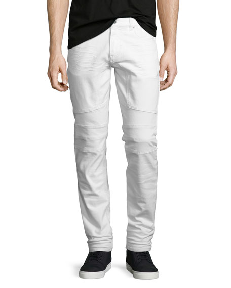 Belstaff Westham Moto-Style Tapered Jeans, Vintage White