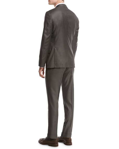 Solid 3-Button Two-Piece Suit, Asphalt