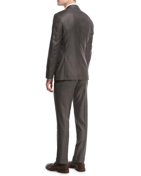 Solid 3-Button Two-Piece Suit, Asphalt