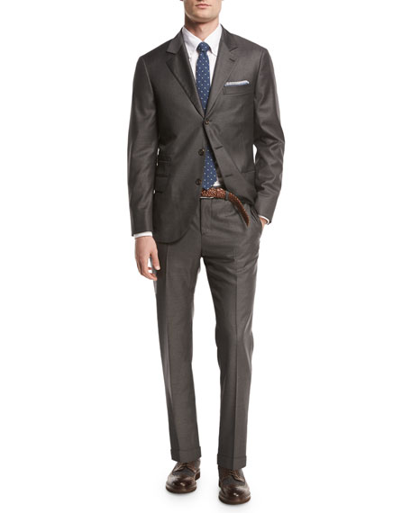 Brunello Cucinelli Solid 3-Button Two-Piece Suit, Asphalt