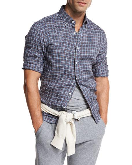 Brunello Cucinelli Plaid Leisure-Fit Sport Shirt, Indigo