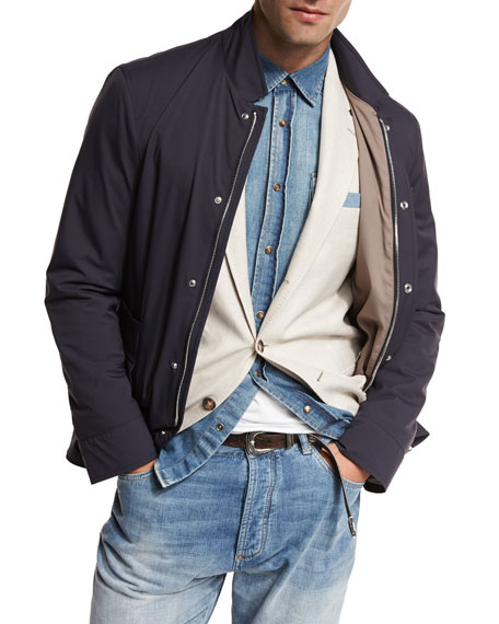 Brunello Cucinelli Nylon Sport Jacket, Navy