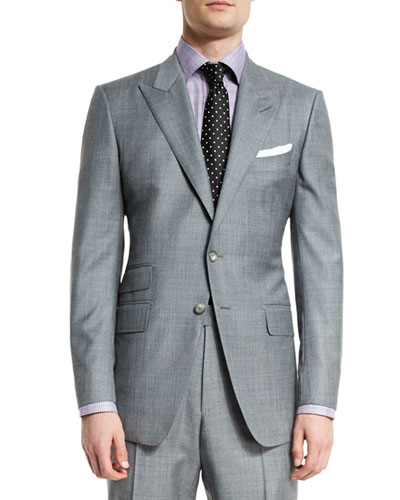 O'Connor Base Sharkskin Two-Piece Suit  Light Gray
