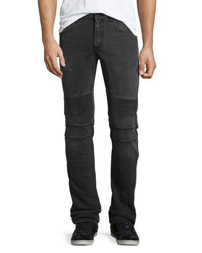 Eastham Moto-Style Slim-Fit Jeans, Gray