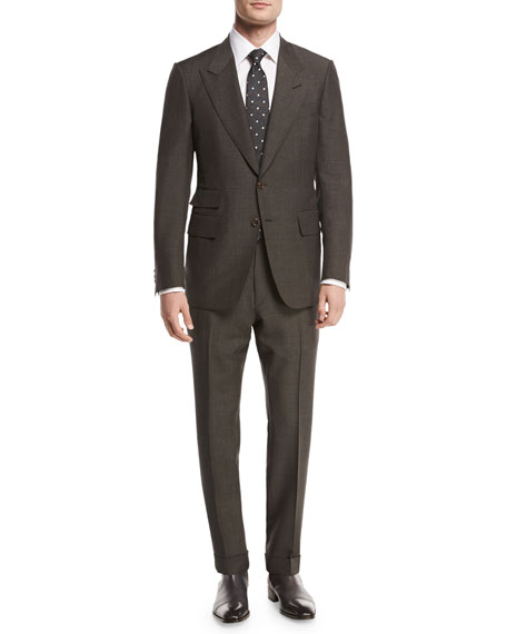 TOM FORD Shelton Base Mohair Peak-Lapel Two-Piece Suit,