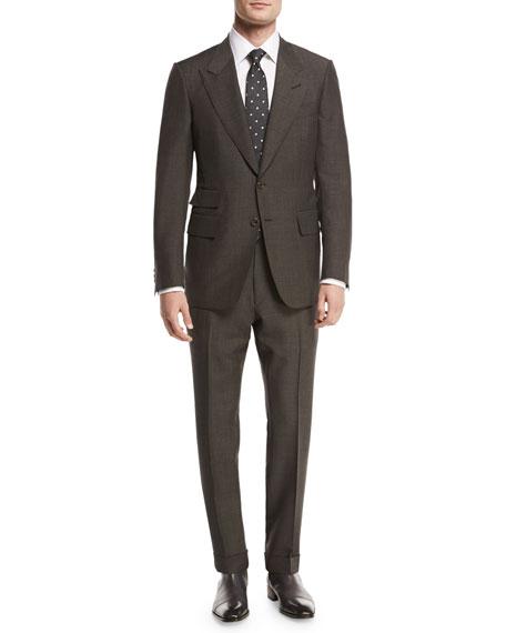 Shelton Base Mohair Peak-Lapel Two-Piece Suit, Brown