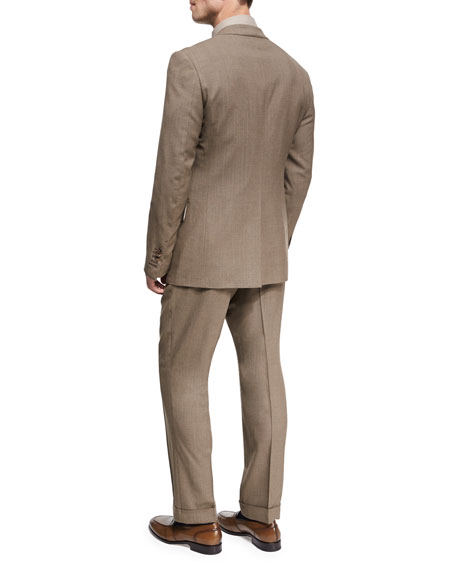 Shelton Base Mélange Wool-Silk Peak-Lapel Two-Piece Suit, Brown