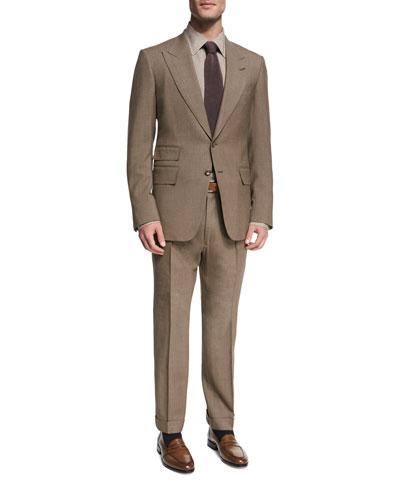 Shelton Base Melange Wool-Silk Peak-Lapel Two-Piece Suit, Brown