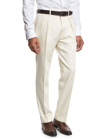 TOM FORD Double-Pleated Trousers, White