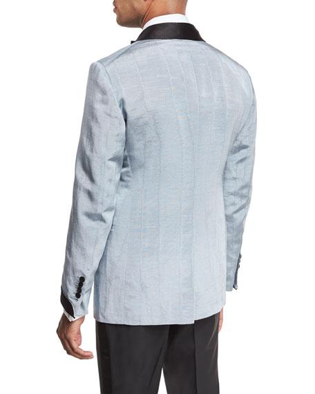 Shelton Base Satin Shawl-Collar Moire Evening Jacket, Pale Blue