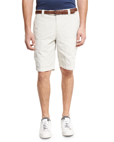 Brunello Cucinelli Cotton Cargo Shorts, Neutral