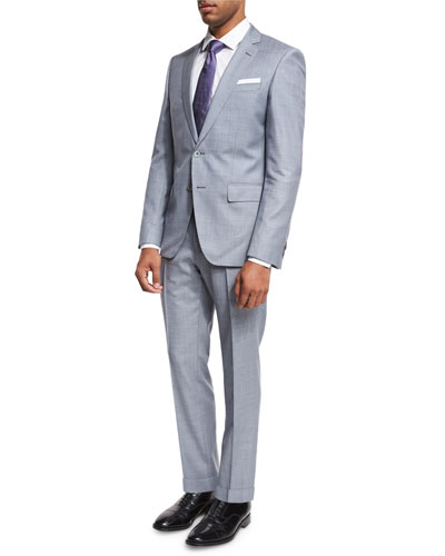 Melange Two-Piece Wool Suit, Light Blue/Gray