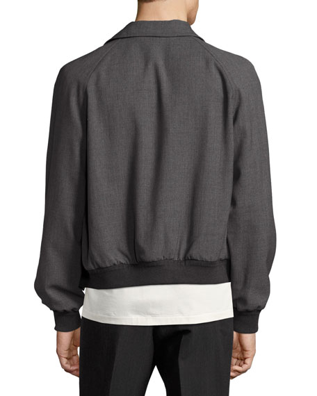 Zip-Front Wool Bomber Jacket, Gray