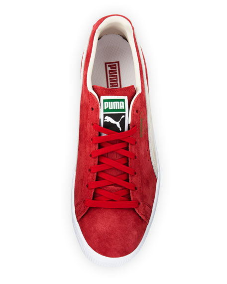 Clyde Suede Low-Top Sneaker, Red