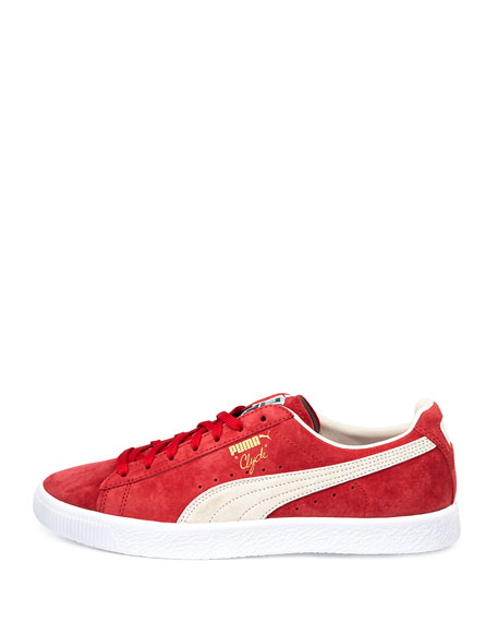 Clyde Suede Low-Top Sneaker, Red