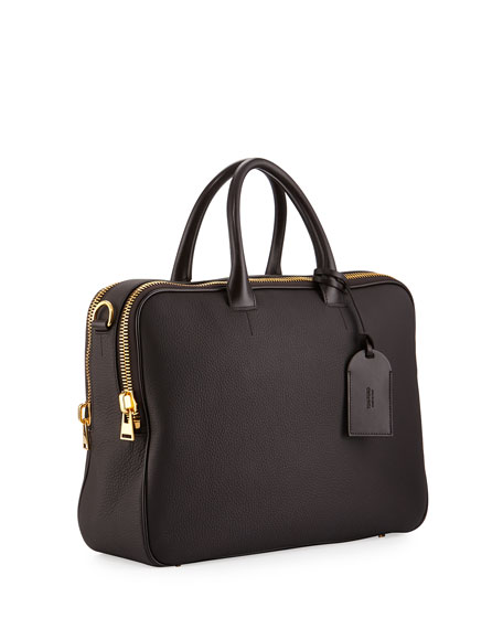 Leather Double-Zip Briefcase, Chocolate (Brown)