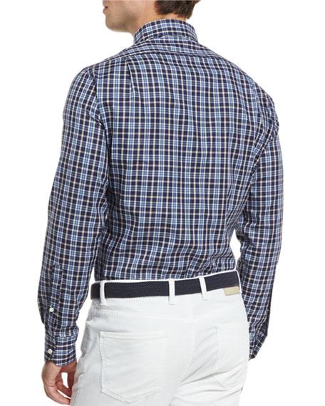 Newport Plaid Long-Sleeve Sport Shirt, Blue Plaid