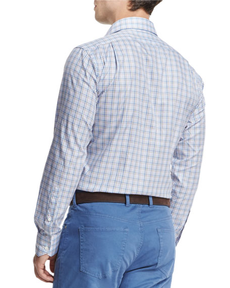 High Hat Check Long-Sleeve Sport Shirt, Blue