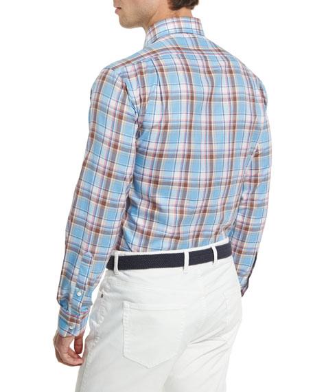 Tuscan Plaid Long-Sleeve Sport Shirt, Blue