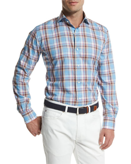 Peter Millar Tuscan Plaid Long-Sleeve Sport Shirt, Blue