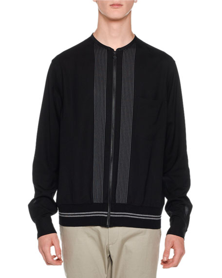 Embroidered-Stripe Shirt Jacket, Black