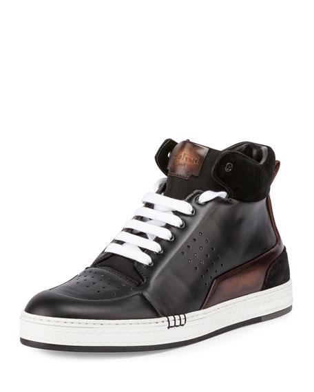 Berluti Playtime Leather High-Top Sneaker, Black